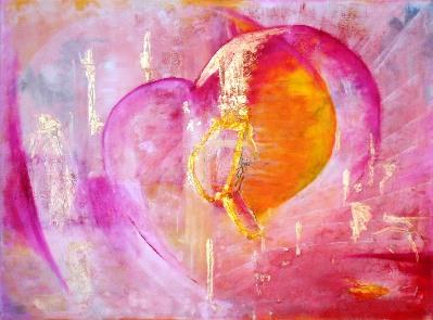 Lebensberatung in München - Mit Achtsamkeit, Selbstliebe und Mitgefühl im Sinnbild eines Herzens, gemalt in den Farben Rot, Orange, Gelb und Rosa in Öl auf Leinwand