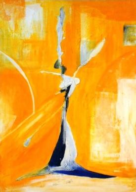 Mehr Lebenskraft durch Homöopathie im Sinnbild einer abstrahierten Person, die die Arme hochstreckt, gemalt in Öl auf Leinwand