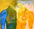 Gemeinsam Lösungen finden: Bild zweier einander zugeneigten, verbundenen und doch unterscheidbaren Körperhälften. Ölbild von Barbara Weinzierl aus München.
