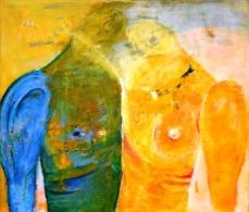 Selbstliebe lernen im Ölbild zweier Körperhälten, die sich einander zuwenden